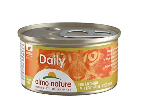 almo nature Daily - Cibo Umido Completo per Gatti Adulti - Mousse con Tacchino. 24 Lattine da 85G. - 2400 g