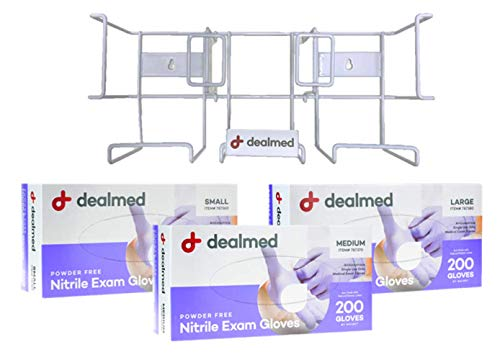 Dealmed Triple Glove Box Holder Plus 3 Boxes of Dealmed Nitrile Exam Gloves | White Coated Steel Glove Dispenser for Wall Mount/Countertop Including a Small, Medium, and Large Box of Gloves