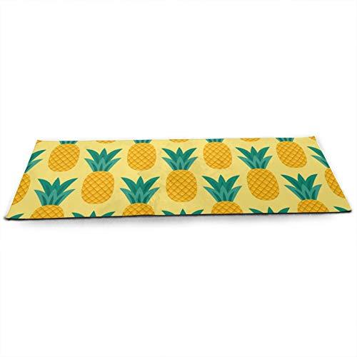 Esterilla de yoga antideslizante con patrón de piña, respetuosa con el medio ambiente, ideal para yoga, pilates y ejercicio en el suelo, 180 cm x 61 cm x 5 mm