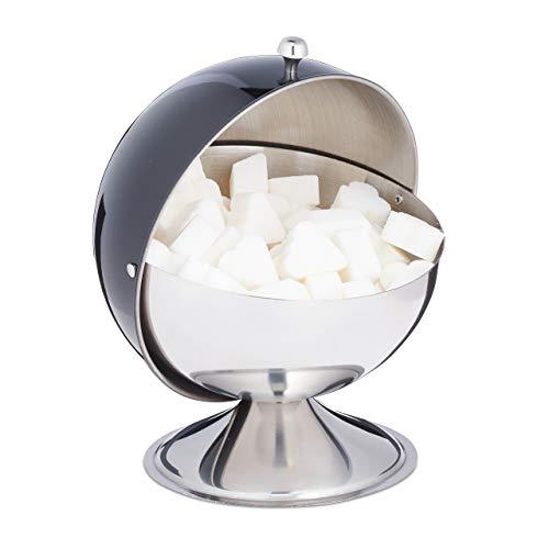 Relaxdays Zuckerdose, mit Rolldeckel, glänzender Edelstahl, für Zucker & Süßigkeiten, Bonbondose, Zuckerkugel, schwarz