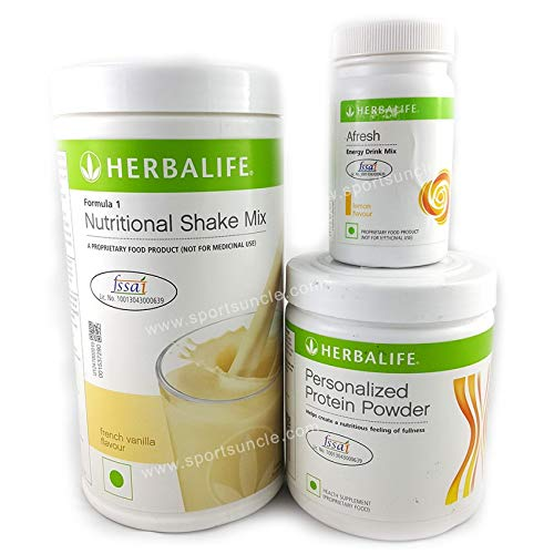 Herbalife Nutrition Shake Mix Vanilla Flavour Weightloss Package (Formula one vanilla shake 500gm, PPP 200gm, Afresh Lemon 50gm)