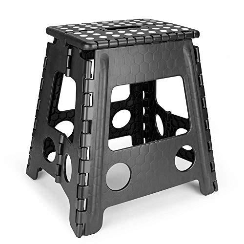 Living Plastic Folding Step Hocker 15 Zoll Höhe Premium Klappstuhl für Kinder & Erwachsene Küche Garten Bad Stepping Hocker, schwarz