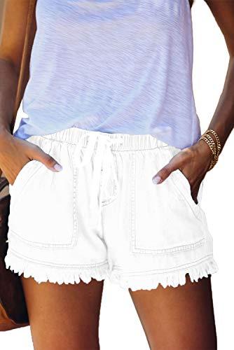 HVEPUO Damen Jeansshorts High Waist Kurze Hosen aus Denim für den Damen Sommer Denim Kurze Hose Basic Jeans Bermuda-Shorts mit Quast Weiß XXL