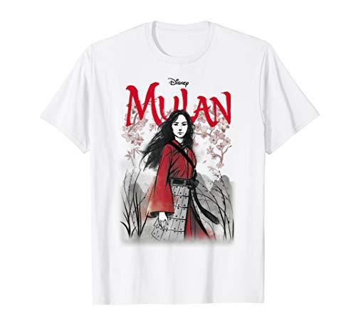 Disney Mulan Live Action Mulan Floral Watercolor Logo T-Shirt