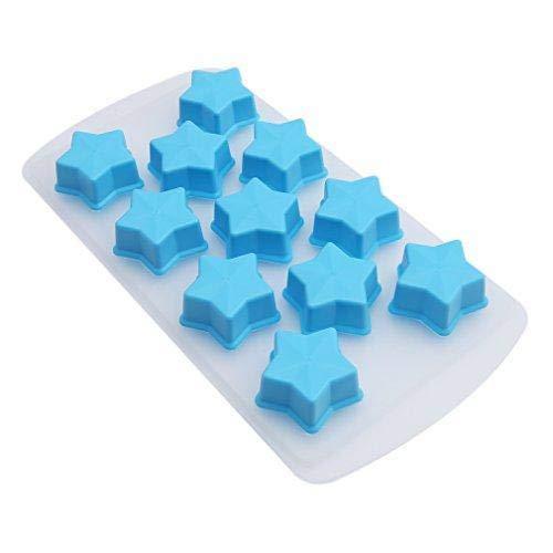 Jeffyo Kreativ Eiswürfelform Silikon Eiswürfel Schokolade Gelee Form (Stern)