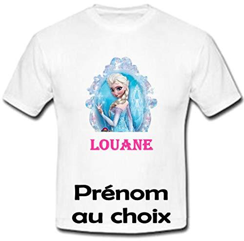 GRAVOPHOTO - Tshirt personnalisé Reine des neiges prénom et Taille au Choix
