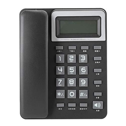 Teléfono fijo, teléfono negro Línea fija, llamadas manos libres y pantalla de llamadas Teléfonos fijos inalámbricos, máquina de cable doble Teléfono de escritorio para hotel de oficina en casa