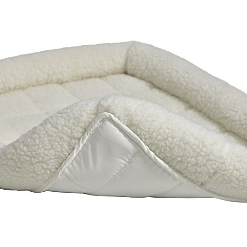 30L-Inch White Fleece Dog Bed or Cat Bed w/ Comfortable Bolster, Ideal for Medium Dog Breeds & Fits a 30-Inch Dog Crate, Easy Maintenance Machine Wash & Dry, 1-Year Warranty