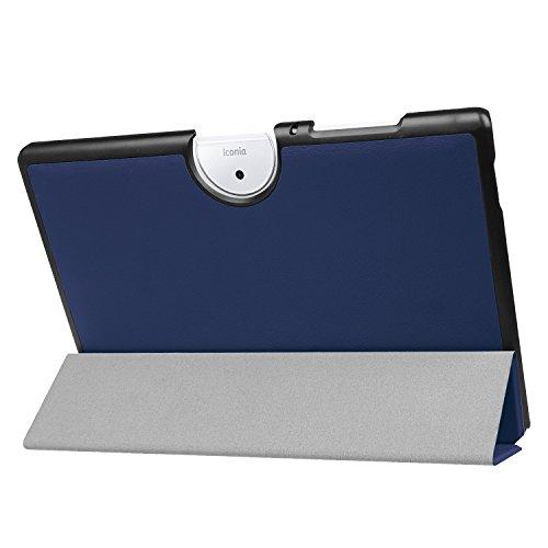 Kepuch Custer Funda para Acer Iconia One 10 B3-A40,Slim Smart Cover Fundas Carcasa Case Protectora de PU-Cuero para Acer Iconia One 10 B3-A40 - Azul