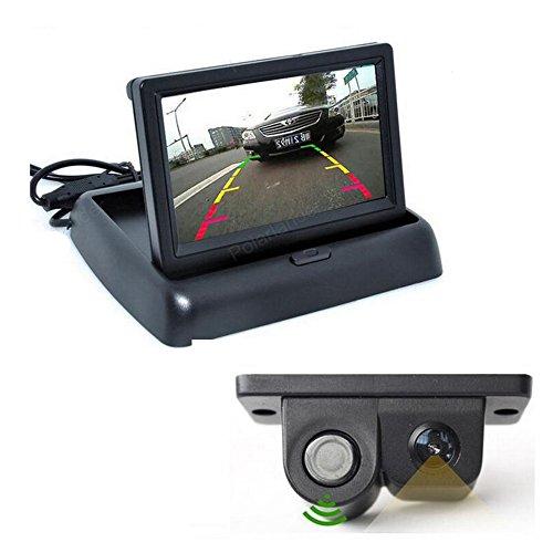 GOFORJUMP Caméra de Vue arrière Automatique avec Le capteur de stationnement visuel + Moniteur Pliable de Voiture de TFT d'affichage à Cristaux liquides de 4,3\