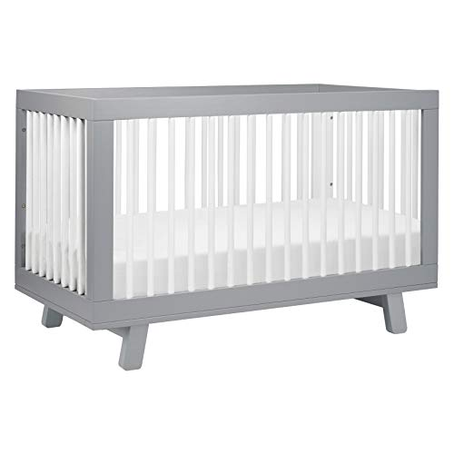 Babyletto Hudson 3-in-1 Convertible Crib with Toddler Bed Conversion Kit in Grey / White, Greenguard Gold Certified