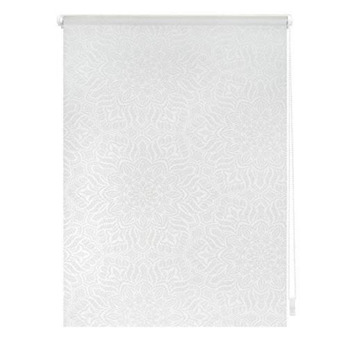 Lichtblick Rollo Klemmfix, 45 x 180 cm mit Motiv Henna - Weiß Transparent Montage ohne Bohren, moderner Sicht-und Sonnenschutz, Motivrollo, lichtdurchlässig & Blickdicht