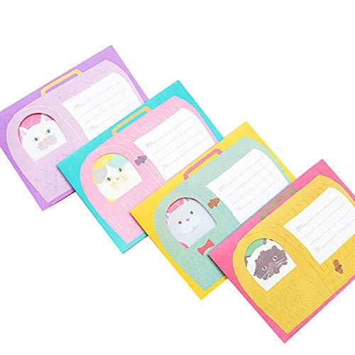 moin moin レターセット メッセージカード キャリー バッグ 手紙 を抱える ぽっちゃり 猫 キャット 4種 合計 便箋16枚 + 封筒8枚 セット (紫×白猫/黄×羊猫/ピンク×灰ぶち猫/緑×グレー猫)