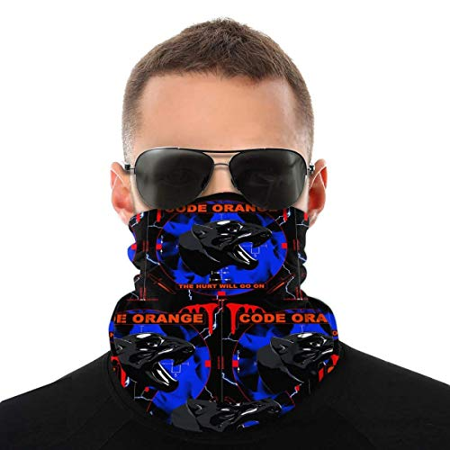 IUBBKI Código de patrón, gorro naranja, polaina para el cuello, bufanda para la cara, abrigo para la cabeza, calentador para el cuello, pañuelos para la boca reutilizables al aire libre