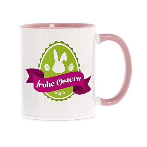 stempel-fabrik Keramiktasse rosa zweifarbig mit Aufdruck - Frohe Ostern mit Ostermotiv - Kaffeetasse mit Spruch - Bedruckte Tasse - Teetasse - Beidseitig Bedruckt - Geschenkideen - Ostergeschenk