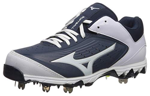 Mizuno Women's Swift 5 Fastpitch Cleat Softball Shoe, Navy/White, 6 B US