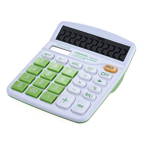 Handheld Colorful Standard Function Desktop Electronic Calculator Solar and Battery Dual Powered 12 Digits Green