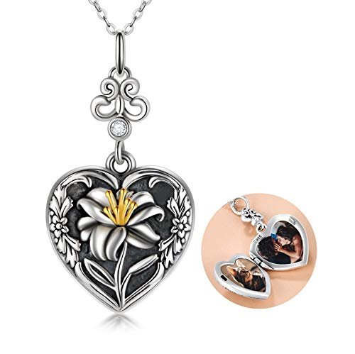 Sterling Silver Lily Locket Necklace that Holds Pictures Love Heart Locket Memory Pendant with Crystals from Swarovski, Birthday Gifts for Women Girldfriend Wife Mum
