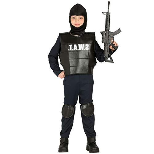 Guirca Costume Vestito Abito Travestimento Carnevale Bambino Poliziotto SWAT, Squadra Anti SOMMOSSA, Soldato, Militare (7/9 Anni)