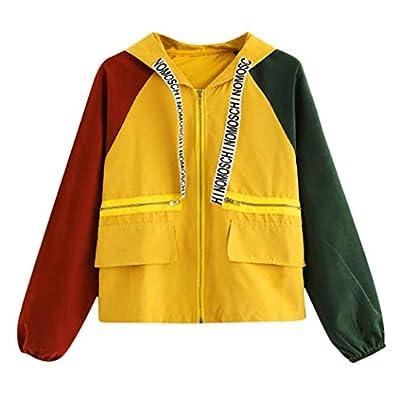 Women's Autumn Hooded Jacket Coat Long Sleeve Patchwork Zipper Pocket Color Sport Coat