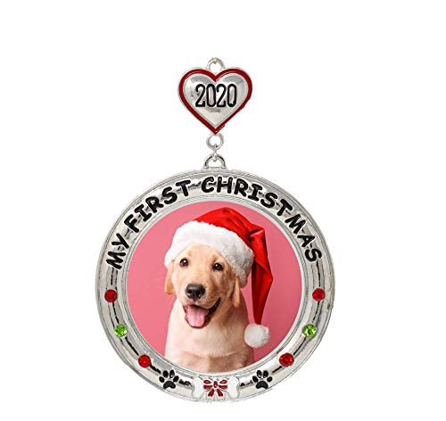 My First Christmas Pet Puppy Dog - 2020 Year Dated Picture Ornament for a New Fur Baby - Dog Bone and Heart Charm Annual Hanging Xmas Ornaments 1st Christmas Holiday