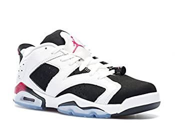 Nike Air Jordan 6 Retro Low GG Youth Basketball Shoes WHITE / SPORT FUCHSIA - BLACK 6Y M US