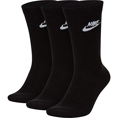 Nike U Nk Nsw Evry Essential Crew Socks, 3er Pack black/White, S