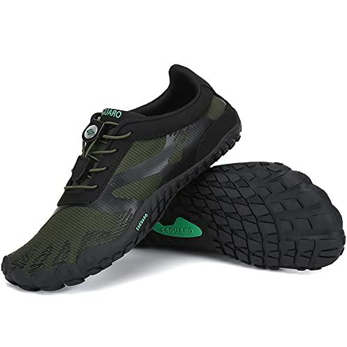 SAGUARO Zapatillas Minimalistas Hombre Zapatillas de Barefoot Mujer Zapatillas de Trail Running Antideslizante Escarpines de Agua Stil: A Verde Gr.45