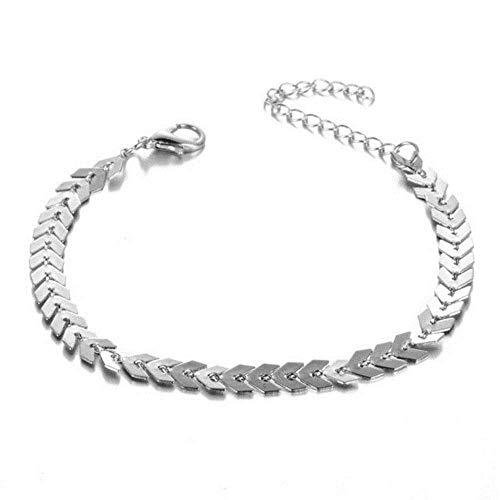 Europese en Amerikaanse Mode Sieraden-Goud Zilver Metalen Pijl Armbanden en Bangles voor Bladeren Chain Pailletten Armband Fishbone Vliegtuig Platte Ketting Sieraden, Thumby
