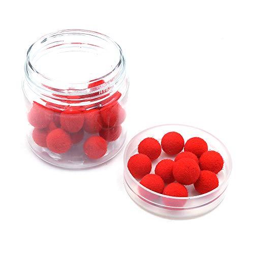 Namvo 1 caja de 30 bolas de olor de cebo de pesca, cebos flotantes para pesca de carpa, cebos artificiales, bolas de olor para pesca roja-fresa de 8 mm