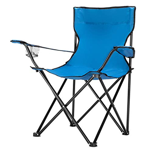 Kcelarec Portable Folding Camping Chair with Arm Rest Cup Holder and Carrying and Storage Bag (Blue)