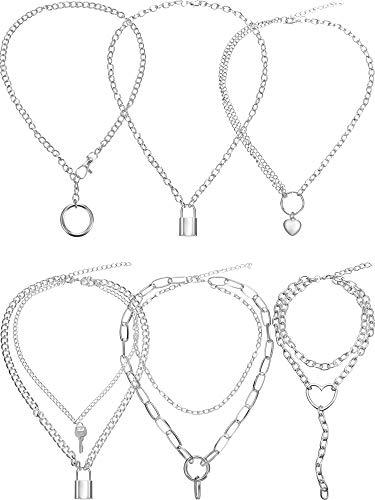 6 Piezas Collar de Cerradura Cadena con Colgante Punk Y Collar con Colgante de Círculo Corazón Simple Cadena de Multicapa para Hombres Mujeres