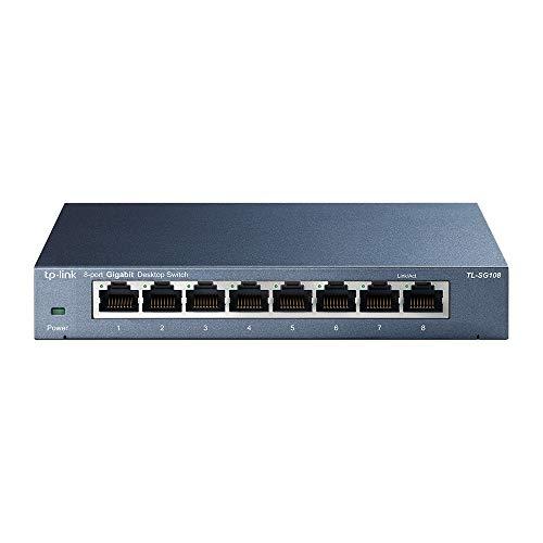 TP-Link TL-SG108 V3 8-Ports Gigabit Netzwerk Switch (bis 2000MBit/s im Vollduplexmodus, geschirmte RJ-45 Ports, Metallgehäuse, optimiert Datenverkehr, IGMP-Snooping, unmanaged) blau metallic