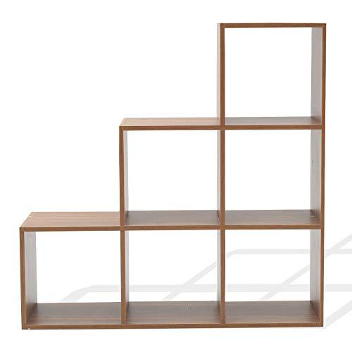 Rebecca Mobili Estanteria Escalera, Estante marrón Roble, MDF, 6 Compartimentos, diseño Moderno, organización Documentos Objetos - Medidas: 97,5 x 97,5 x 29 cm (AxANxF) - Art. RE6044