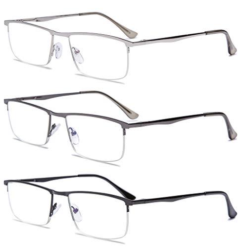 VEVESMUNDO Blaulichtfilter Lesebrillen Metall Herren Federscharniere Halber Rechteckig Rahmen Lesehilfe Sehhilfe Brille mit Sehstärke 1.0 1.5 2.0 2.5 3.0 3.5 4.0 (3 Stück Lesebrillen Set, 2.5)