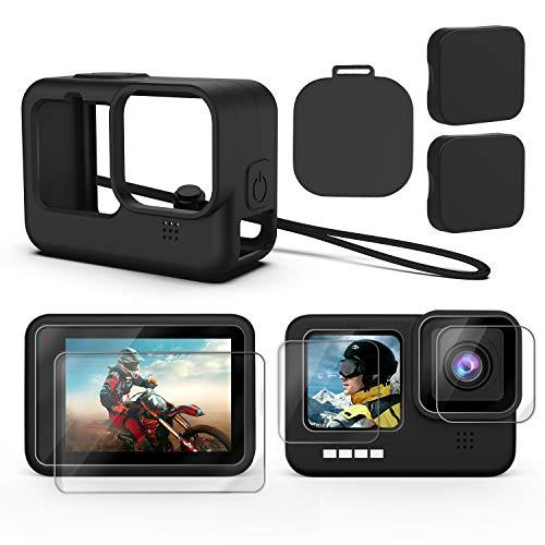Deyard Kit de Accesorios para GoPro Hero 9, Funda Protectora de Silicona + 6 Protectores de Pantalla de Vidrio Templado + 2 Tapas de Goma para Lentes Pare GoPro Hero 9 Black