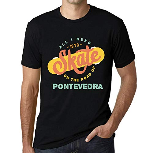 Hombre Camiseta Vintage T-Shirt Gráfico On The Road of Pontevedra Negro Profundo
