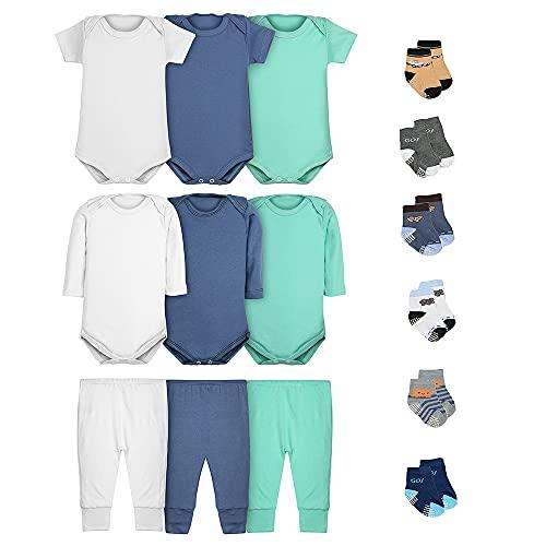 Body Bebê Calça Mijão e Meias Kit 15 Peças Masculino (P)