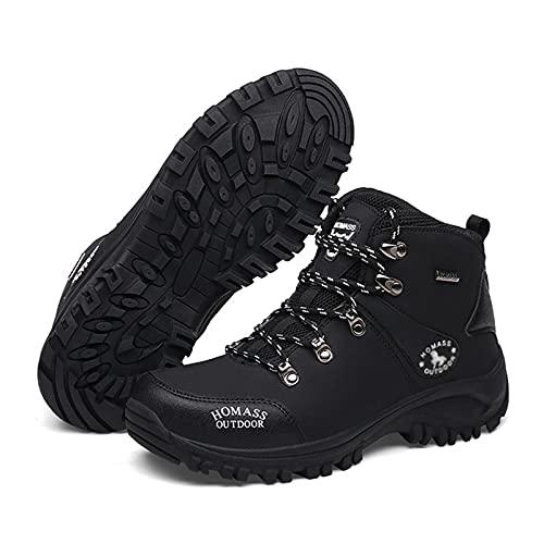 WANGT Botas De Senderismo para Hombre, Zapatos Impermeables De Cuero Esmerilado De Capa Superior para Hombre, Zapatos Ligeros para Senderismo Al Aire Libre, Senderismo, Montañismo,Negro,38
