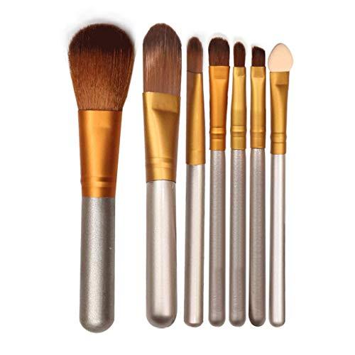 Pinceau de maquillage Femelle 7 Pièce Set Iron Box Maquillage Brosse Argent Fiber Brush Long Rod