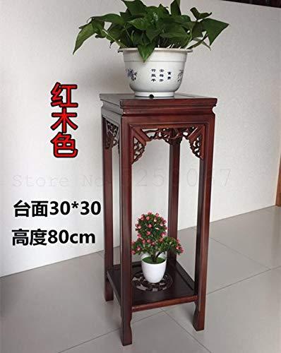GETSO Chinesischer Stil Massivholz Blumenständer Ulme antikes Wohnzimmer Blumenregal mit Multi-Layer Innen-grün Bonsai Quadrat rot Holz: 80cm hoch 6
