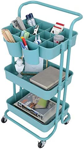 StorageWorks Blue Rolling Carts 3 Tier Mesh Rolling Utility Cart Storage Cart Organizer with product image