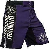 Hardcore Training Fight Shorts Men's Recruit Pantalones Cortos Hombre Negro Rojo Azul Púrpura Verde Boxeo MMA BJJ Fitness Artes Marciales (Blue, XL)