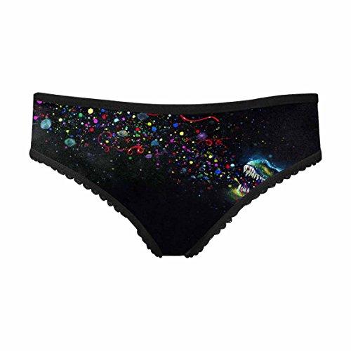 InterestPrint Women's Soft Underwear Briefs Crystal Glowing Tyrannosaurus Rex Emitting Rainbow Party Sparkles in Space M