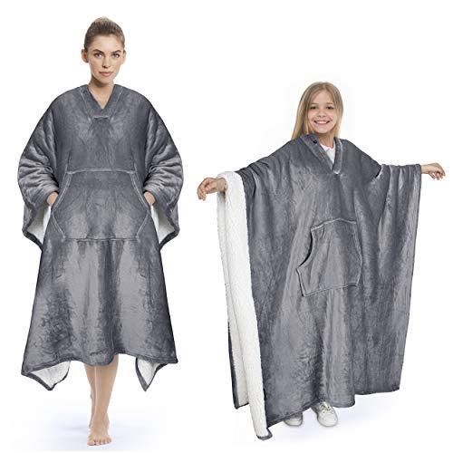 Catalonia Classy Sherpa Poncho Decke Superweiche Bequeme Plüsch tragbare Fleecedecke für Erwachsene Frauen Männer Kinder Wickelhülle drinnen oder draußen, 200 x 140 cm, Grau