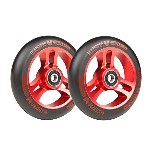 Blazer Pro Scooter Patinete Wheels Triple XT 110mm with ABEC 9 Black Red (Set 2)