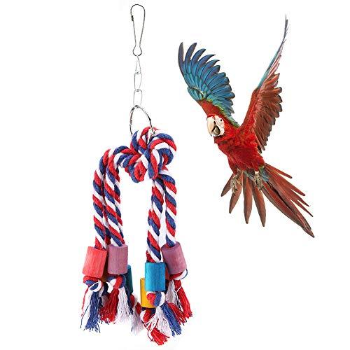Hffheer kleurrijke papegaaien kauwtouw weven vogel katoen touw speelgoed opknoping vogel kooi speelgoed voor het spelen kauwen Preening met hout blok