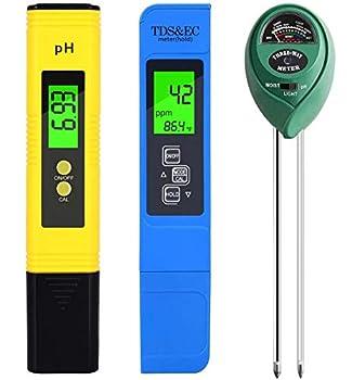 PH Meter TDS PPM Meter Soil PH Tester PH/EC Digital Kit 3 Pack