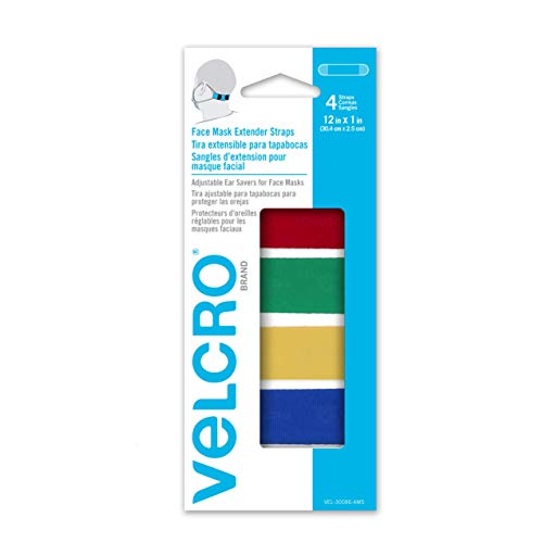 """VELCRO Brand Face Mask Extender Straps 4pk Multi-Color, 12"""" x 1"""" Comfortable and Adjustable Ear Savers, VEL-30086-USA"""