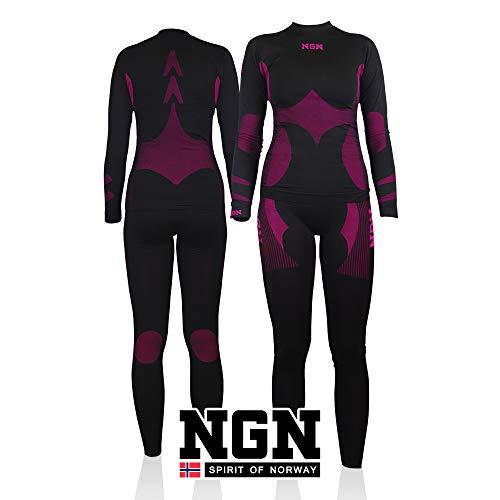 NGN Skiunterwäsche Damen aus Norwegen | Thermo-Unterwäsche Lang | Funktionswäsche Atmungsaktiv Schwarz | Schöne Skibekleidung | Baselayer Set for Woman | Sport Hose und Shirt für Frauen